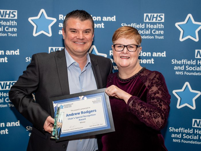 Andrew Rodgers and Jayne Brown OBE at Recognition and Achievement Awards 2020
